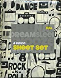Dreamsleep Music Dance 4 Piece Full Size Sheet Set Rock n Roll Drums Radios Guitars Sheets