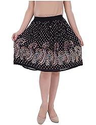 Shopping World Rayon Printed Black Short Skirt