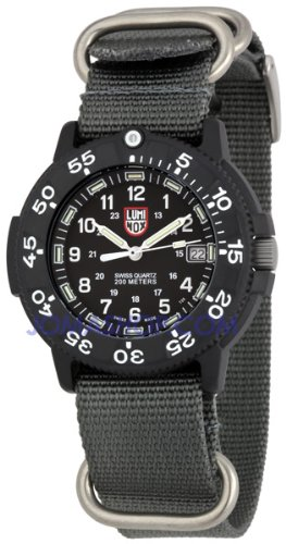 Luminox 3001 Navy Seal Dive Watch Series 1 Black with Gray NATO Strap 3001.NATO.GRY