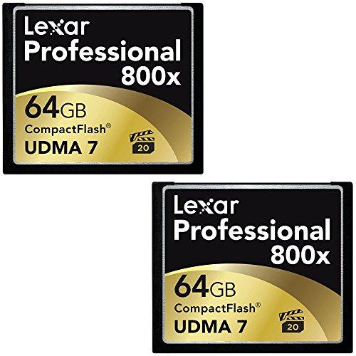 Lexar 64GB Professional 800x Compact Flash Memory Card (LCF64GCTBNA800) 2-Pack Bundle (Lexar Cf 64gb compare prices)