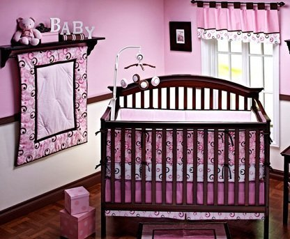 NOJO Simply Baby Metro Pink Nursery Window Treatment Valance