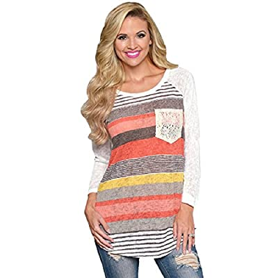 Sannysis Women Loose Stripes Lace Pocket O-neck Shirt Tops Blouses