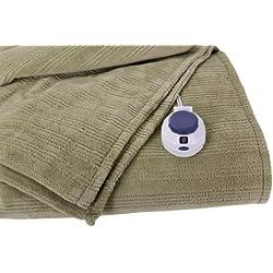 Soft Heat Ultra Micro-Plush Low-Voltage Electric Heated Triple Rib Throw, Sage Green