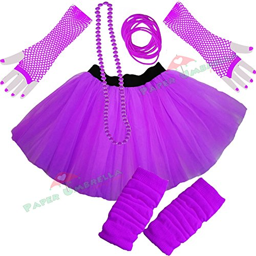 Ladies Neon Tutu Skirt, Legwarmers, Gloves 5 piece set (UK 8-14, Purple)