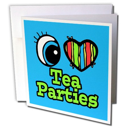Dooni Designs Eye Heart I Love Designs - Bright Eye Heart I Love Tea Parties - 12 Greeting Cards With Envelopes (Gc_106614_2)