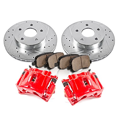 Callahan FRONT Red [2] Calipers + [2] Rotors + Quiet Low Dust [4] Ceramic Pads Performance Kit