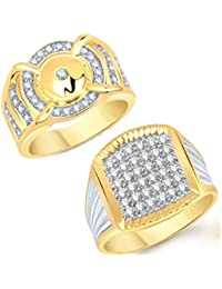 VK Jewels Gold And Rhodium Plated Alloy Ring Combo For Men - COMBO1422G [VKCOMBO1422G]
