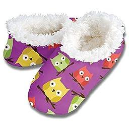 Snoozies Womens Fleece Lined Footies, Purple Owls Womens Footcoverings - XL