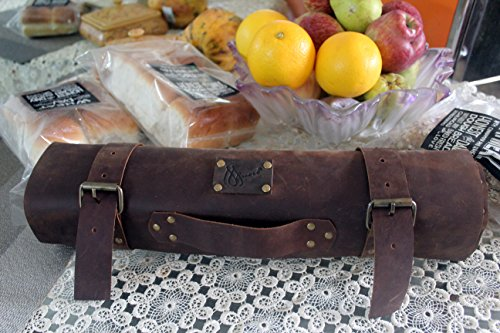 New Stylish Rustic vintage leather chef roll knife case toll case painters Roll brown