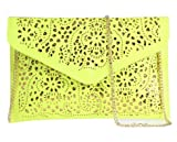 Womens Envelope Clutch Chain Foil Floral Purse Lady Handbag Shoulder Evening Bag (Yellow)