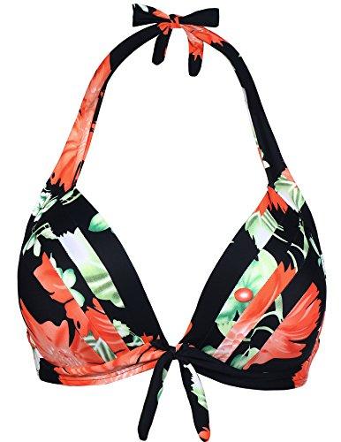 Eidlvais Women's 50s Retro Bikini Swimsuit Swimwear Bathing Suits Tops Separates Black Floral Size XXXL (Bow Bathing Suit Top compare prices)