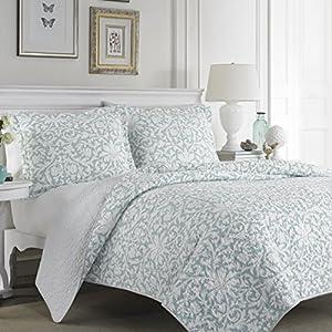 Amazon.com - Laura Ashley Blue Reversible Quilt Set, King, Floral, Mia