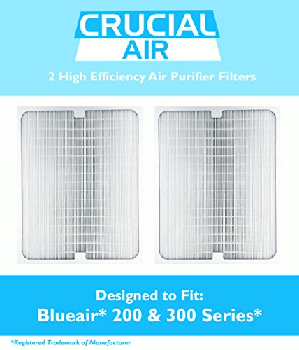 2 Air Purifier Filters fit ALL Blueair 200 & 300 Series Models 201, 210B, 203, 250E,200PF, 201PF ; Designed & Engineered By Crucial Air