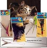 "The Da Bird Super Pack (Includes 1 Da Bird Original 36"" Single Pole Cat Toy, Feather Refill, Sparkly Attachment, Kitty Puff Attachment & Peacock Feather)"
