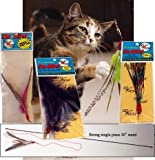"The Da Bird Super Pack (Includes 1 Da Bird Original 36"" Single Pole Cat Toy, Feather Refill, Sparkly Attachment, Kitty Puff Attachment & Peacock Feather)"
