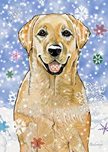 Yellow Labrador Christmas Cards Snowflakes : 10 Holiday Cards with Red Envelopes - ADORABLE!