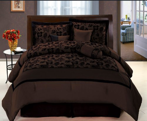 7 Pc Modern Black Choco Brown Flock Satin Comforter Set