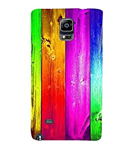 PrintVisa Colorful Wood Pattern 3D Hard Polycarbonate Designer Back Case Cover for Samsung Galaxy Note 4