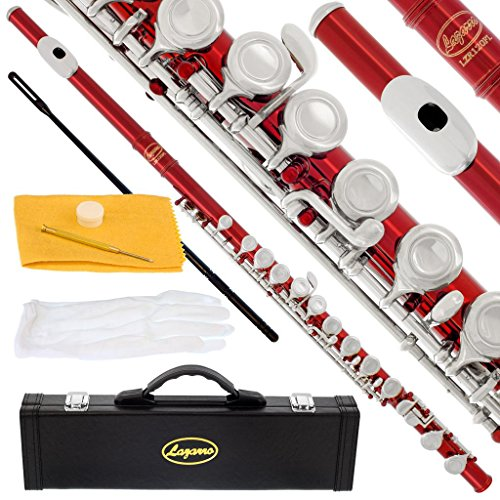 -RD - RED/NICKEL Keys Closed C Flute Lazarro+Pro Case,Care Kit - 10