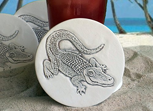 McCarter Coasters Alligator Absorbent Drink Coasters Light Beige 4.25 inch Set of 4
