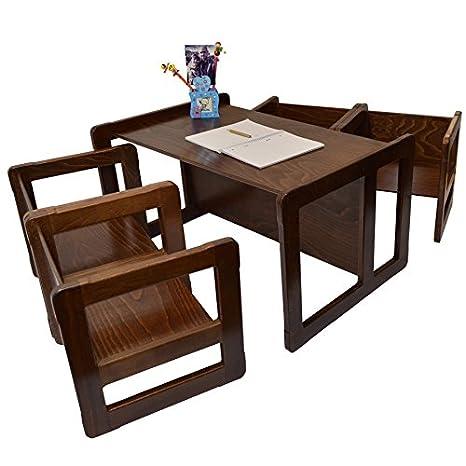 3 en 1 Muebles Para Niños Conjunto de 5 Cuatro Pequeñas Mesas Sillas y Una Mesa Banco Grande Hechan de Madera de Haya Oscura