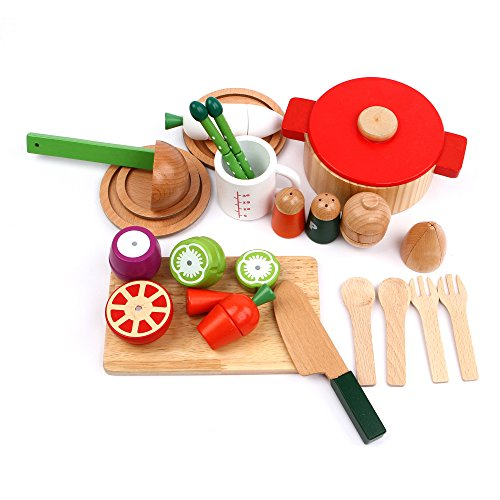 cutting cooking set iplay ilearn wood kitchen toy kids cooking