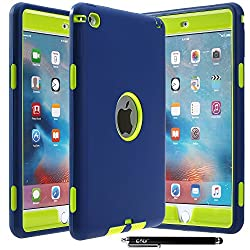iPad Mini 4 Case - E LV Armor Defender Hybrid protection from drops and impacts with 1 Stylus and 1 Microfiber for iPad Mini 4 - [DARK BLUE/GREEN]