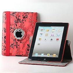 TCD for Apple iPad Mini 1 2 3 w/ Retina Display Fancy PU Leather Stand [RED] w/ Black Stencil Flower Design [360? Rotation] Case w/ Kickstand [Auto wake/sleep Feature] SCREEN PROTECTOR STYLUS PEN
