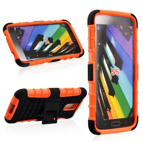 Angelia 2014 Fashion Fashion 2 In 1 Hard And Soft Hybrid Armor Combo Case For Samsung Galaxy S5 S Sv I9600 (Orange + Black)