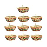 Kriti Creations Set Of 10 Traditional Wax Filled Clay Diyas