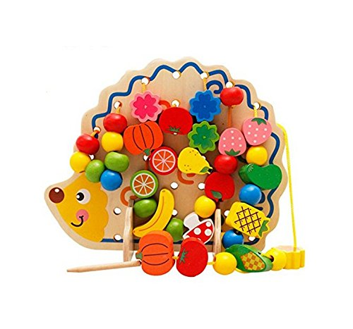6MILES-2016-Newest-Design-Wooden-Animal-Fruits-and-Vegetables-Wood-Ball-Lacing-Stringing-Art-Craft-Beads-Toys-with-Hedgehog-Board-for-Toddlers-Kid-Children-Birthday-Gift-Set