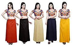 Pistaa combo of Women's Cotton Mango, Coca Cola, Beige, Navy Blue and Mango Yellow Color Best Comfortable Readymade Inskirt Saree petticoats