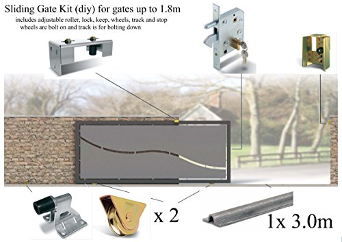 Sliding Gate Kit for gates up to 1.8m (bolt down track, Latch/Lock and bolt on wheels)