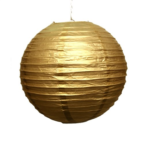 "Fun Express - Gold Lanterns, Pack of 6, 12"" Balloon Lanterns (Includes Wire)"