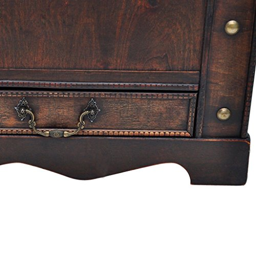 Large Wood Treasure Storage w/ Drawer Blanket Steamer Chest Vintage Coffee Table 4
