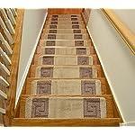 Millenium Stair Tread Treads Greek Key Design Indoor Skid Slip Resistant Carpet Stair Tread Treads Greek Key Design Machine Washable (Set of 13, Meander Beige)