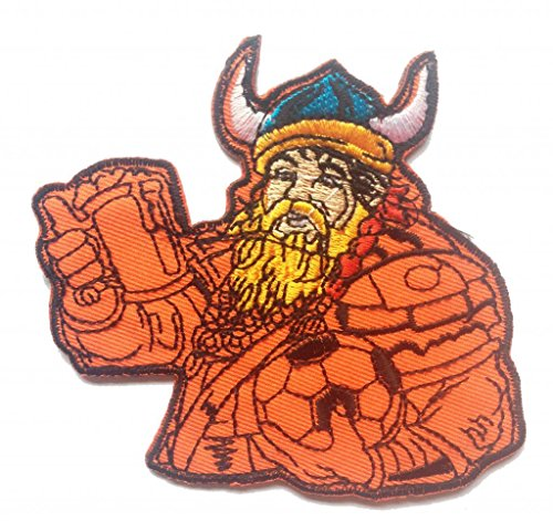 Toppe termoadesive - Odin, dio vichingo - arancione - 9x8.5cm - Patch Toppa ricamate Applicazioni Ricamata da cucire adesive