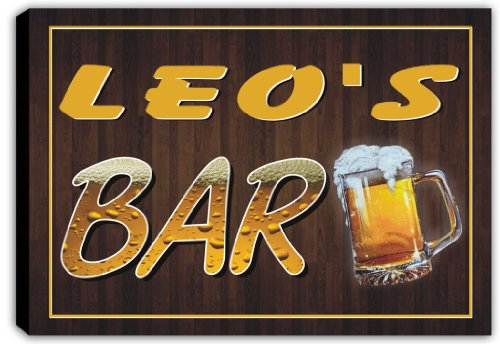 scpv1-0168-leos-bar-beer-mug-pub-stretched-canvas-print-sign