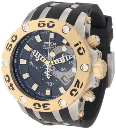 Invicta Men's Chronograph Reserve Specialty II Watch 0908 with Black Dial and Black Pu Band