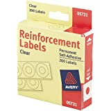 "Avery 1/4"" Round Self-Adhesive Reinforcement Labels, Clear, Pack of 200 (5721)"