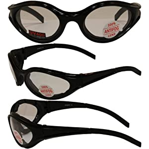3 Black Frame Motorcyle Biker Riding Glasses Sunglasses Padded Clear Smoke Yellow Lens MSRP for This Set Is $48.00 They Have Shatterproof Polycarbonate Lenses With UV400 Filter And Double-Sided Anti-Fog Coating Also Great for ATV Shooting Driving by Globa
