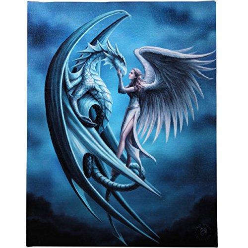 Anne Stokes - Tela decorativa, staffa da parete, colore: argento