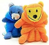 Kids Mesh Sponge Bath and Shower Loofah Lion and Bear by Greenbrier International