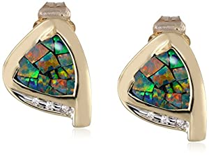10k Yellow Gold Mosaic Opal and Diamond Earrings