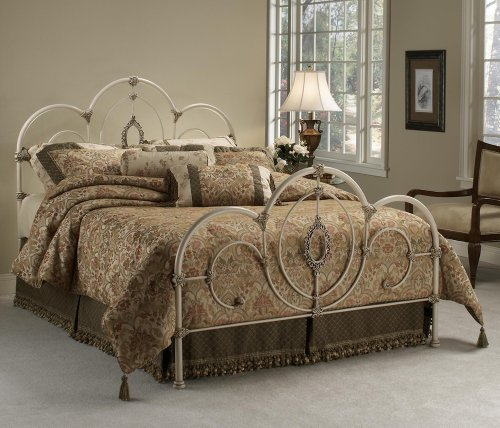 Hillsdale Furniture 1310Bkr Victoria Bed Set With Rails, King, Antique White