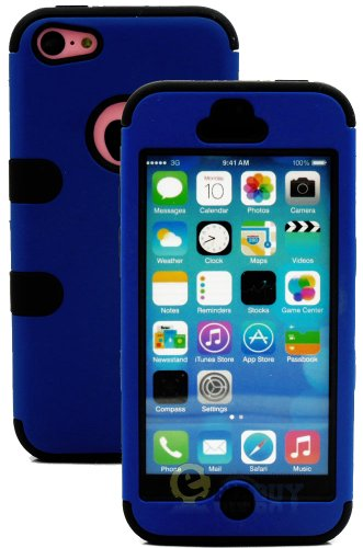 Mylife (Tm) Black + Royal Blue Flat Color Style 3 Layer (Hybrid Flex Gel) Grip Case For New Apple Iphone 5C Touch Phone (External 2 Piece Full Body Defender Armor Rubberized Shell + Internal Gel Fit Silicone Flex Protector + Lifetime Waranty + Sealed Insi