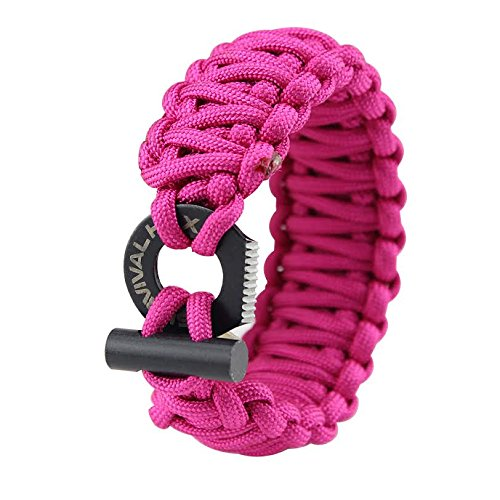 Paracord Survival Bracelet - Adjustable 550 - Fire Starter - Eye Knife - Fits Wrists 6 to 9 inches (Medium
