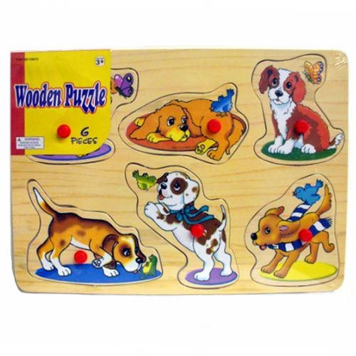 Picture of Creative Ventures Dogs Wooden Puzzle with Raised Pegs (B0017HBGSU) (Pegged Puzzles)