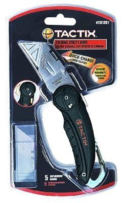 Tactix 261201 Utility Knife Folding with Blade, 5-Piece, Black/Orange