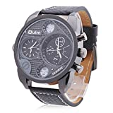 France Army watch Multi-Function Dual Movt Quartz Mens Wrist Watch Leather Watchband